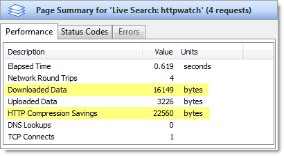 Live.com results page summary
