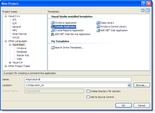 Create VB.Net Console Application