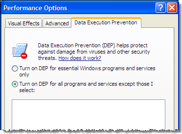 Enable DEP in Windows XP