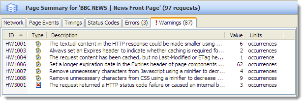 Warnings Summary Tab in HttpWatch 7.0