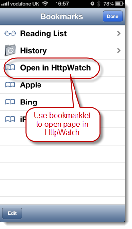 Use HttpWatch Bookmarklet