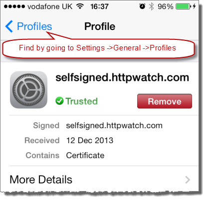 Trusted Certificate in iOS