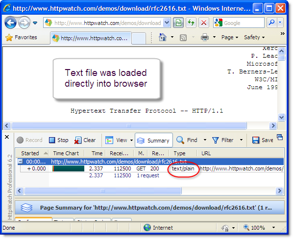 Plain Text in IE
