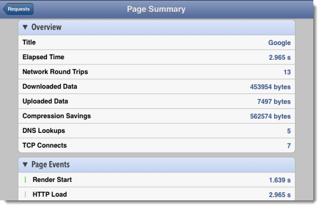 Page Summary in App
