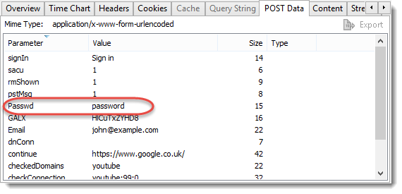 Password on POST Data tab