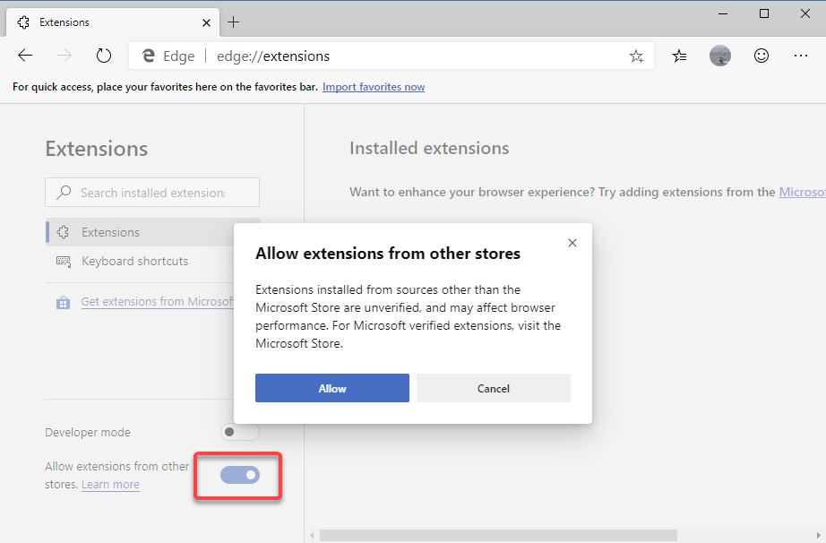 Allow Edge to install extension from Chrome Web Store